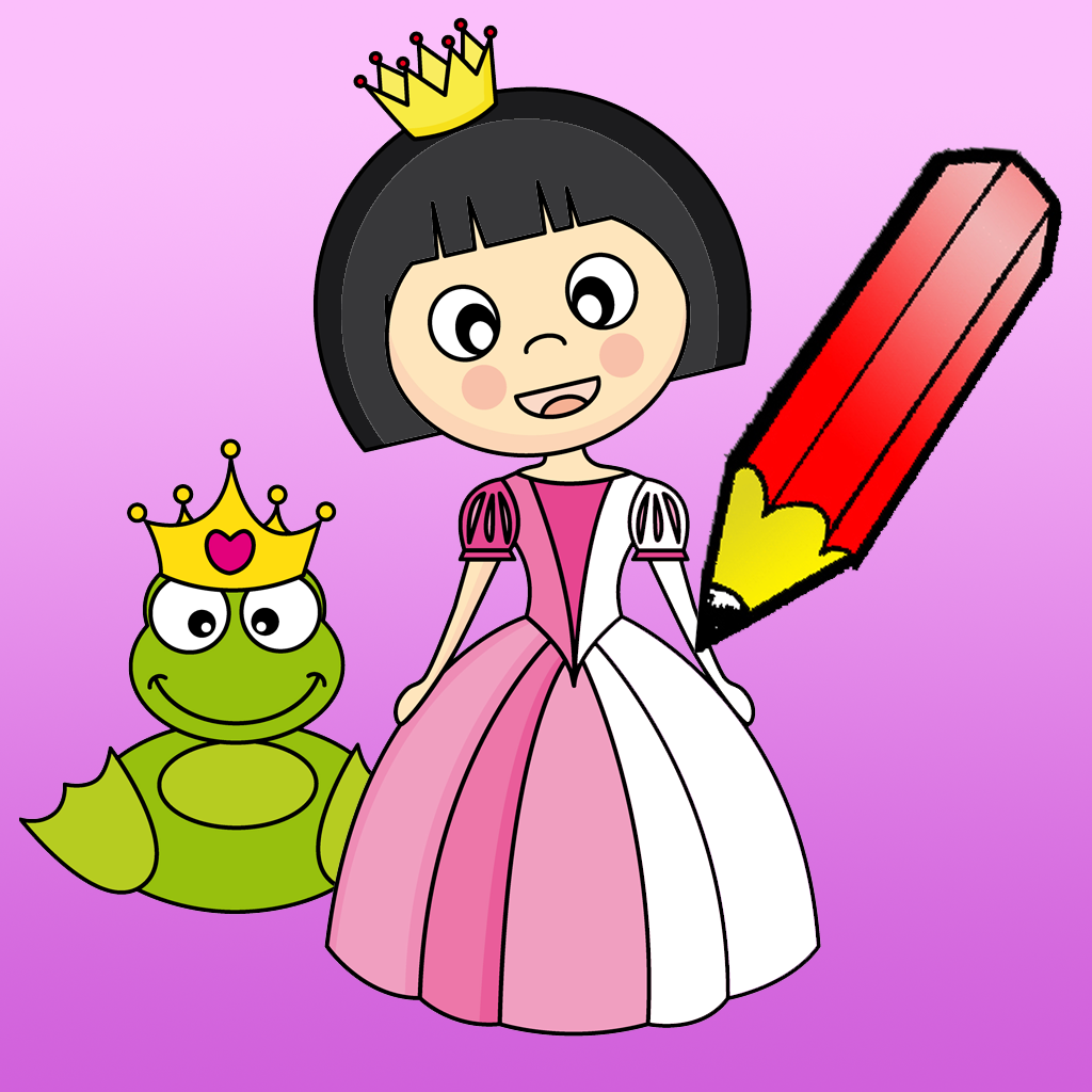 Princess Coloring Book for Girls: learn to color cinderella, kingdom, castle, frog and more